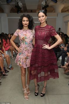 Front row friends: The 30-year-old posed next to Victoria's Secret Angel and fellow front row attendee Shanina Shaik