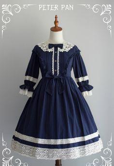 Star Fantasy -Peter Pan- Vintage Classic Lolita OP Dress (Short Sleeves Version) Stylish Dresses For Girls, Little Girl Dresses, Cute Dresses, Vintage Dresses, Short Dresses, Girls Dresses, Old Fashion Dresses, Frock Fashion, Lolita Fashion