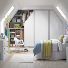 Fitted storage unit ideas is part of home Bedroom Wardrobe - Looking for fitted storage for your home Take a look at this photo gallery for more storage inspiration visit housetohome co uk Attic Apartment, Attic Rooms, Attic Spaces, Small Spaces, Attic Bathroom, Attic Wardrobe, Sliding Wardrobe Doors, Built In Wardrobe, Sliding Door
