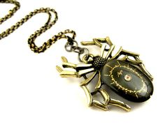 Rustic Black Widow Watch Parts Spider pendant    by SteamSect, $36.89