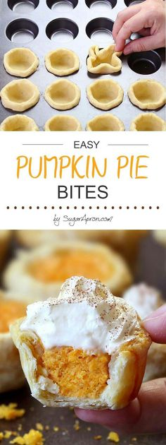 Pumpkin Pie Bites Bet I could use my pie recipe for this.All the flavors of Homemade Pumpkin Pie packed into perfect portable fall…Bet I could use my pie recipe for this.All the flavors of Homemade Pumpkin Pie packed into perfect portable fall… Köstliche Desserts, Holiday Desserts, Delicious Desserts, Yummy Food, Tasty, Healthy Desserts, Easy Fall Desserts, Homemade Desserts, Elegant Desserts