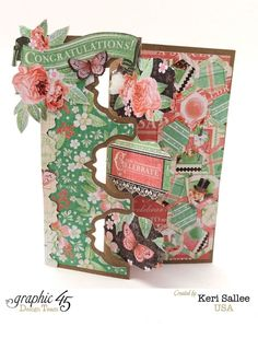 """Time to Celebrate """"Congratulations"""" card that unfolds brilliantly by Keri #graphic45 #cards"""