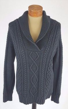 39.59$  Buy here - http://viqhg.justgood.pw/vig/item.php?t=auq9cni48124 - Eddie Bauer Dark Gray Cable Knit Sweater Womens Size Tall Medium 39.59$