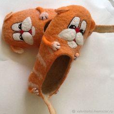 """Купить Валяные тапочки """" Рыжий кот """" - рыжий, рыжий кот, кот"""