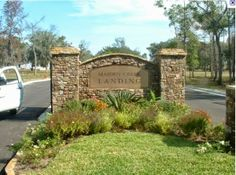 The etched stone lettering. Entrance Signage, Driveway Entrance, Outdoor Signage, Entrance Design, Colonial, Monument Signs, Driveway Landscaping, Front Entrances, Entrance Gates