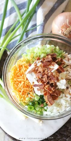 Ingredients: Chicken, Mayo, Celery, Onion, Cheddar Cheese, fresh bacon crumbles, and a SECRET INGREDIENT to make it super delicious. This really is the World's Best Loaded Chicken Salad!