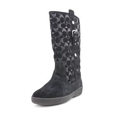 Coach Tullip Women Round Toe Suede Black Winter Boot *** Unbelievable product right here! : Boots Shoes