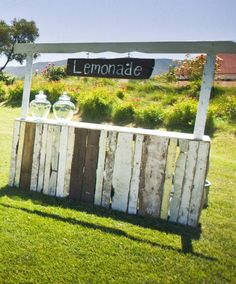 Super cute lemonade stand for a vintage wedding, garden party, birthday party.  Make it a cider stand for fall party... so many opportunities for fun.