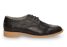 Black Crackled Leather Women's Brogues Also in SILVER! $119 Tom's