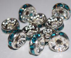 10 Swarovski Indicolite Blue Rondelle Spacer Beads by InspiredEyee #beads #beadsupply #swarovski #swarovskibeads #diy #create #inspiredeye #etsy #makejewelry #rondelle #spacerbeads
