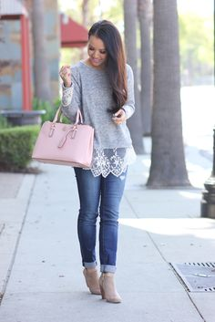 Lace hem sweater and ankle booties