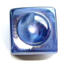 Button ~ Glass Blue Square Vintage Moonglow with Aurora Finish Medium by KPHoppe on Etsy