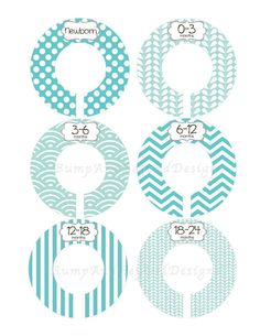 Closet dividers printable closet dividers divider and for Baby clothes size organizer