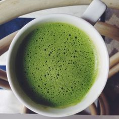 Bulletproof matcha latte. I switched coffee for green tea, Japanese Matcha, which has many benefits.