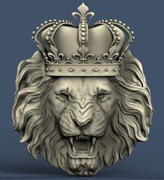 Vintage Flower Tattoo, Dark Art Photography, Lion Illustration, Cardboard Sculpture, Lion Wallpaper, 3d Cnc, Crown Tattoo Design, Lion Art, Animal Statues