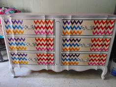 Finally done! French Provincial Dresser, Rainbow Chevron, Upcycle, Diy Projects, Upcycling, Upcycled Crafts, Recycling