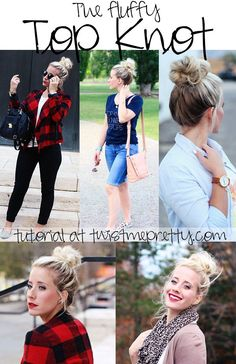 How to get a big ole' bun without having a ton of hair.  Come checkout the fluffy top knot tutorial at twistmepretty.com