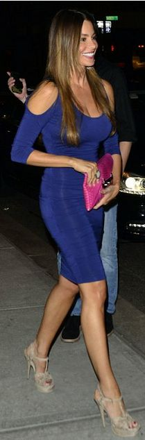 Who made Sofía Vergara's nude platform sandals and blue cut out shoulder ruched dress? | OutfitID