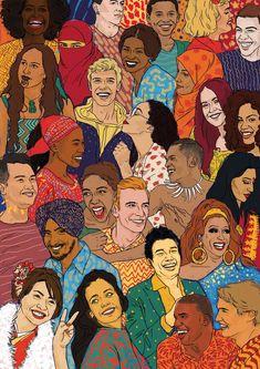 Jan 2020 - illustration, diversity, graphic design, colour, m. Art And Illustration, Illustration Design Graphique, Graphic Illustrations, Magazine Illustration, Apropiación Cultural, Cultural Diversity, Cultural Center, Unity In Diversity, Diversity Poster