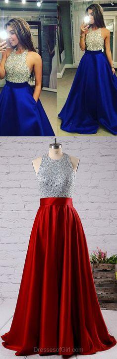 Ball Gown Satin Tulle Floor-length Beading Halter Backless Prom Dresses