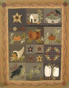 Primitive Folk Art Wool Applique Quilt Pattern Series:  AUTUMN WALL QUILT --  58 inches x 72inches. $32.50, via Etsy.
