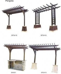 Trellis idea - outside on the south side of the deck fence and above the outdoor cooking area Patio Pergola, Pergola With Roof, Wooden Pergola, Diy Patio, Backyard Patio, Backyard Landscaping, Covered Pergola, Small Pergola, Cheap Pergola