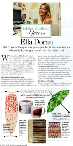 Ideal Home July edition, flower ironing board, Georgia tin and mug, Stacks and Stripes tray, Sunlight Through Leaves umbrella, Sweetie Love cake tins by Ella Doran