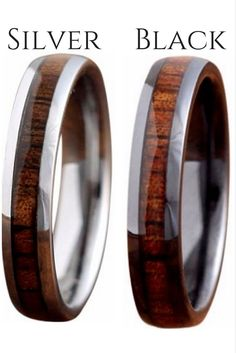 4mm wood wedding ban  4mm wood wedding bands. The silver wood ring is crafted out of tungsten carbide and the black ring is crafted out of high tech ceramic. Both make beautiful and unique wedding rings