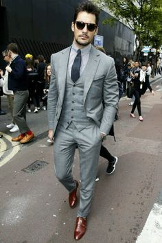 The definition of bespoke. Grey 3 Piece. Navy on Stripes.  (David Gandy)