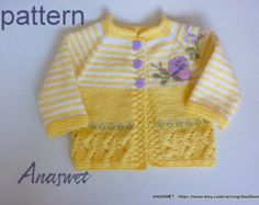 Knitting baby pattern.Pattern baby crdigan.Baby cardigan with butterflies.Baby girl cardigan in yellow.Pattern PDF-PC008