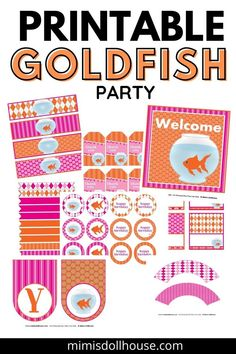 These pink goldfish printables are perfect for a girl's birthday party. First Birthday party ready!