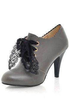 Lace-Ribbons Brogues Heels - Grey