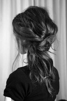 Messy hair.