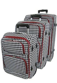 06bd954b728fa8 Houndstooth Luggage is now available   Blue Bumble Bee Boutique.we ship   I  own a pink set already!