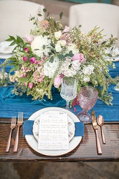 Pink and blue make for a fabulously romantic color combination and this shoot from Anna + Mateo is utterly dreamy! Set at a breath-taking castle in Colorado, this shoot is the fairytale wedding inspiration you've been waiting for. Castle Wedding Inspiration, Wedding Ideas, Fairytale Weddings, Destination Weddings, Centerpieces, Table Decorations, Place Settings, Event Decor, Tablescapes