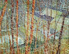 """Peter Doig (b. 1959) The Architect's Home in the Ravine  signed, titled and dated '""""THE ARCHITECTS HOME IN THE RAVINE"""" PETER DOIG 1991' (on the reverse) oil on canvas 78 7/8 x 98¾in. (200 x 250cm.) Painted in 1991 Estimate (Set Currency) £10,000,000 – £15,000,000 ($14,510,000 - $21,765,000)"""