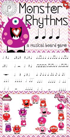 Valentine Music Game- review rhythms with this fun monster themed game!: