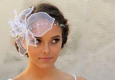 Velo del Birdcage flor tul de novia con cristal desmontable diadema - Dalila