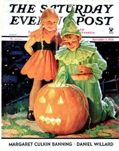 Darling 1930s Halloween themed cover of The Saturday Evening Post. #magazine #cover #vintage #1930s #pumpkin #kids #costumes #thirties