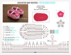 crocheted Baby Booties Tutorial - Instructions crochet baby Patiği