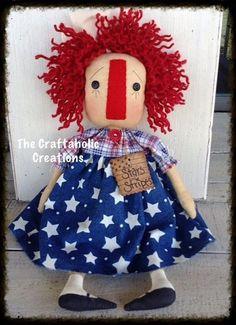 * Primtive RAGGEDY ANN - country DOLL * AMERICANA *  Stars & Stripes ragdoll #NaivePrimitive