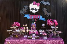 Monster High Birthday Party. Dessert Table. Signage and paper tags by House of Creative Designs // Event Design by Inviting Occasion // Photography by Jackie Culmer Photography