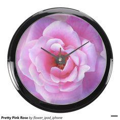 Pretty Pink Rose Aquarium Clocks