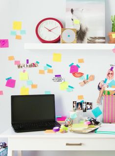 """13 Desk Situations That Will Make You Blow Off Summer Fridays #refinery29  http://www.refinery29.com/desk-inspiration#slide-9  Forget a measly mood board; how about a whole mood shelf for your office? Not only do floating shelves appear insanely chic, they give you the chance to incorporate <a href=""""http://www.modcloth.com/shop/store-organize/just-anana-day-in-paradise-container"""" rel=""""nofoll..."""