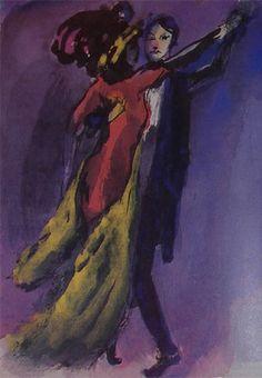 """Dancing Couple"" watercolour, 1910,Emil Nolde museum in Seebuell, near the Danish border."