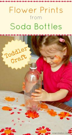Flower Prints from Soda Bottles -- easy toddler craft