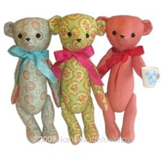 sweet fabric Teddy bear classic vintage style Pdf email Pattern. $5.50, via Etsy.