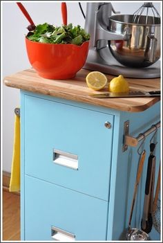Filing cabinets to fab repurposed items like kitchen island, deck planters, even a grill.