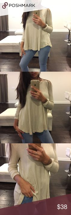 """🆕Ivory Waffle Knit Swing Top Modeling size small. 96% Rayon 4% Spandex  Bust laying flat: S 18"""" M 19"""" L 20"""" Length: 28-30"""" Add to bundle to save 15% on two items or more from my closet. MS1025612 Viscosity Tops"""