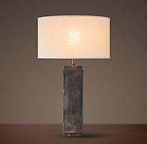 Square Column Table Lamp - Antique Silver